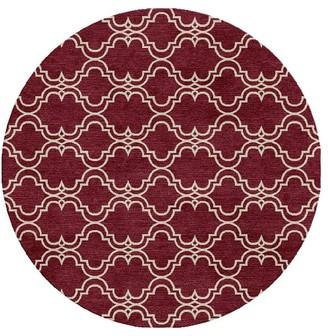 Pottery Barn Custom Scroll Tile Hand Tufted Wool Rug - Ivory