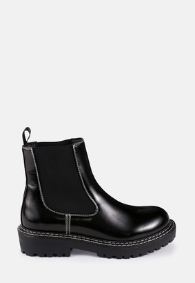 Missguided Black Sole Stitch Chelsea Boots