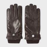 Paul Smith Men's Brown Leather Ribbed Cuff Gloves