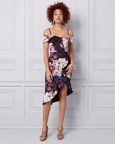 Le Château Floral Print Cold Shoulder Ruffle Dress