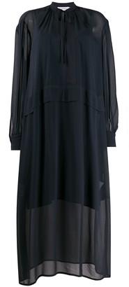 Calvin Klein drawstring fastened sheer shift dress