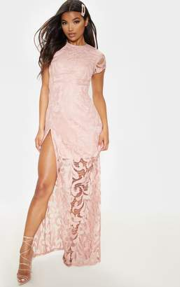 PrettyLittleThing Nude Lace Cap Sleeve Extreme Split Maxi Dress