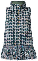 Coohem houndstooth tweed down vest