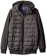 Tommy Hilfiger Men's Tall Size Nylon Puffer Rib Knit Bomber With Fixed Hood and Big and Soft Shell Sleeves