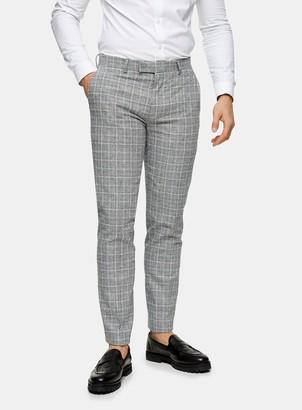 Topman HARRY BROWN Grey Slim Check Suit Trousers