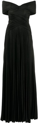 Elisabetta Franchi Pleated Off-Shoulder Gown
