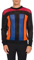 Balmain Colorblock Open-Knit Sweater, Multicolor