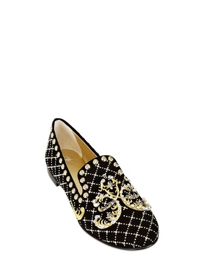 Giuseppe Zanotti 10mm Suede Baroque Embroidered Loafers