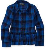 Ralph Lauren Plaid Cotton Peplum Shirt