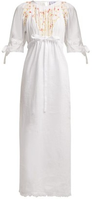 Thierry Colson Tatiana Floral-embroidered Cotton Dress - Womens - White Multi