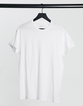 New Look roll sleeve t-shirt in white