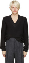 Maison Margiela Grey Wool V-neck Sweater