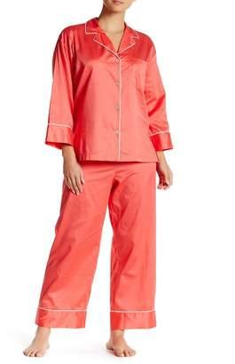 Natori Sateen Cotton Shirt & Pants Pajama 2-Piece Set