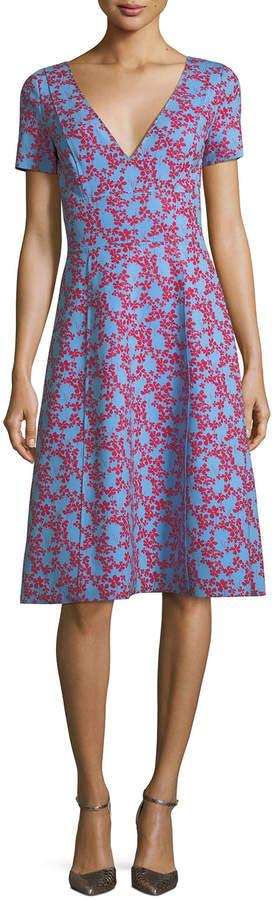 Carolina Herrera Short-Sleeve Floral-Print Neoprene Dress