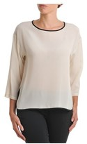 Suoli Women's Beige Silk T-shirt.