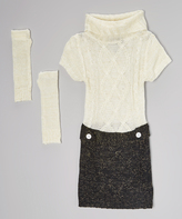 Dollhouse Cream & Black Sweater Dress & Arm Warmers - Toddler & Girls