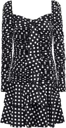 Moschino Ruffled Tiered Polka-dot Satin Mini Dress