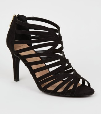 New Look Wide Fit Suedette Caged Stiletto Heels