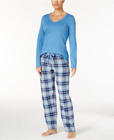 Nautica V-Neck Knit Top and Flannel Pajama Pants Gift Set