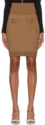 Balmain Brown Fluffy Diamond Skirt