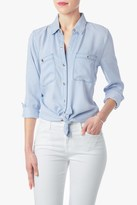 7 For All Mankind Two Pocket Slim Boyfriend Button Front Shirt In Crystal Blue