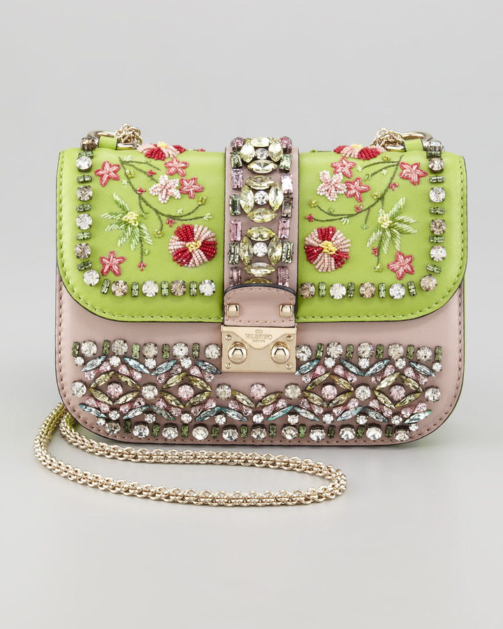 Valentino Glam-Lock Small Flap Bag, Poudre/Pop Apple