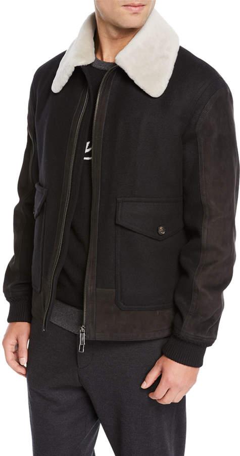 Ermenegildo Zegna Men's Double Wool Short Bomber Jacket