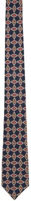Gucci Navy Silk G Diamond Print Tie