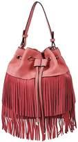 Vieta Francine Suede Fringe Bucket Bag