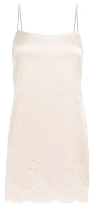 Fleur of England Signature Lace-trimmed Silk-blend Slip Dress - Light Pink