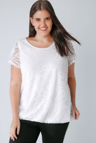 Yours Clothing Ivory Burnout Detail Double Layer Top With Bubble Hem