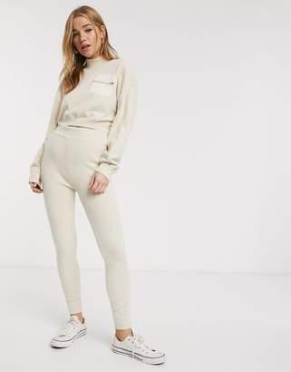 Asos Design DESIGN co ord fine fluffy knit joggers-Cream