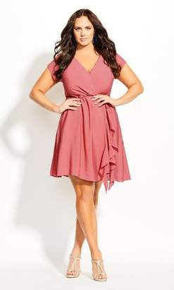 City Chic Satin Ruffle Dress - melon