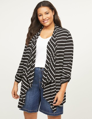 Lane Bryant Striped Roll-Sleeve Draped Overpiece