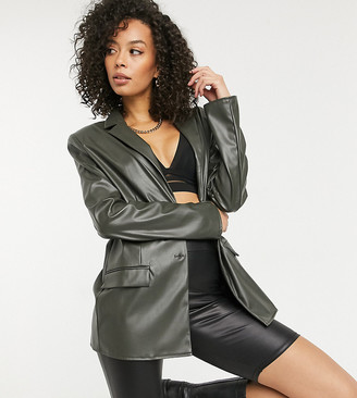 Asos Tall ASOS DESIGN Tall jersey leather look dad suit blazer in forest green