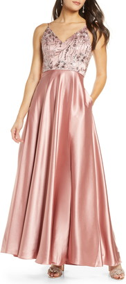 Sequin Hearts Embellished Bodice Satin Gown