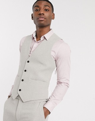ASOS DESIGN wedding skinny suit waistcoat in putty wool blend twill
