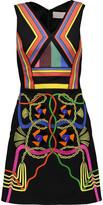 Peter Pilotto Hendrix embellished crepe de chine and cotton-canvas mini dress