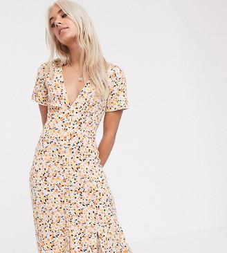 Asos DESIGN Petite button through maxi tea dress with splits in ditsy print-Multi