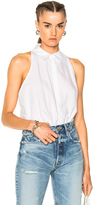 Alexander Wang Washed Cotton Poplin Sleeveless Bodysuit in White.