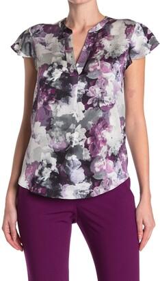 Calvin Klein Floral Flutter Sleeve Blouse