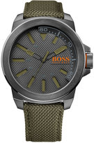 BOSS ORANGE Men's Green Woven Nylon Strap 50mm 1513009