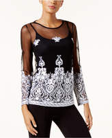 INC International Concepts Embroidered Sheer Top, Created for Macy's