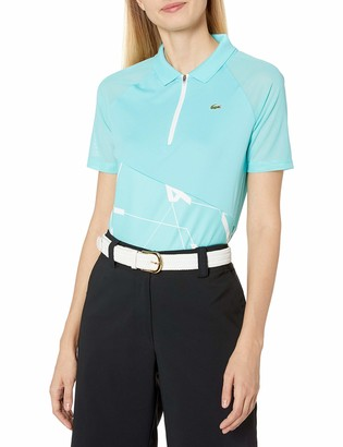 Lacoste Women's Sport Printed Ultra Dry Stretch Jersey Zip Placket Golf Polo sea Blue White 12