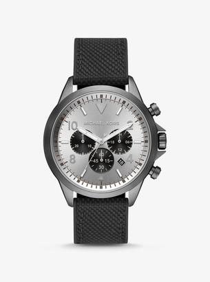 Michael Kors Oversized Gage Gunmetal and Woven Watch