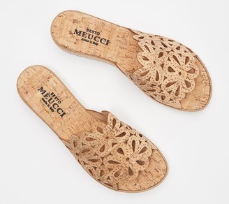 Sesto Meucci Perforated Nubuck Leather Slide Sandals - Sarny