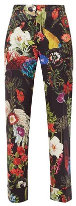 F.R.S For Restless Sleepers Etere Floral-print Silk-twill Trousers - Black Print