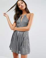 Boohoo Metallic Stripe Cut Out Mini Dress