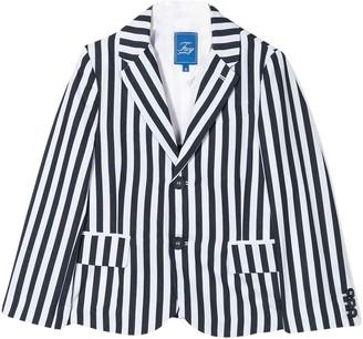 Fay White Teen Blazer With Blue Stripes