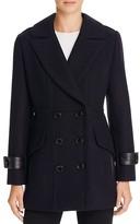 Trina Turk Chloe Leather Trim Pea Coat